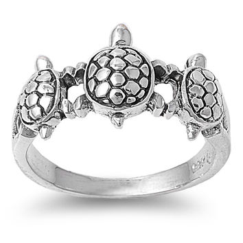 Sterling Silver Three Turtles Ring