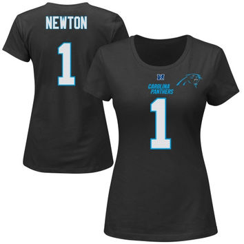 Cam Newton Carolina Panthers Majestic Women's Fair Catch V Name & Number T-Shirt – Black