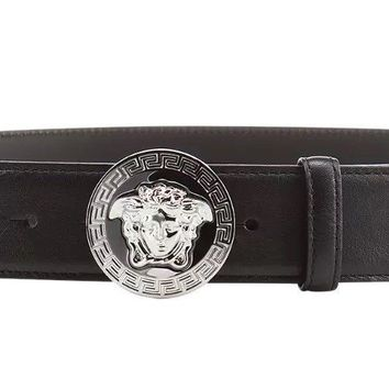 "VERSACE Medusa Vanitas Round Silver Buckle Black Leather Belt W36"" £330 RRP"