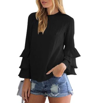 Women Ruffles Shirt O-Neck Pullover Long Puff  Sleeve Blouse