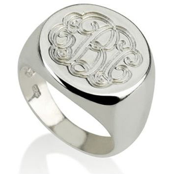 Monogram Signet Ring - .925 Sterling Silver