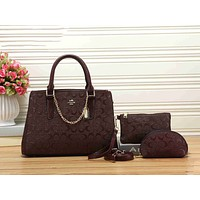 Coach Trending Women Stylish Leather Handbag Shoulder Bag Crossbody Purse Wallet Set Three Piece Coffee I-KSPJ-BBDL