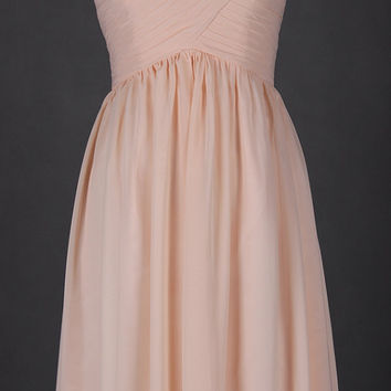 Blush Bridesmaid Dresses Long Sweetheart Backless Simple Chiffon Evening Prom Dresses 2015