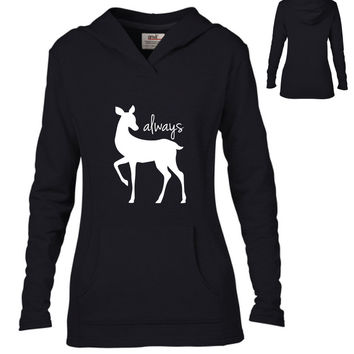 Harry Potter Inspired Clothing - Always Doe Semi-Fitted Lightweight Pullover Hoodie - Ladies