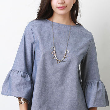 Chambray Bell Sleeve Top