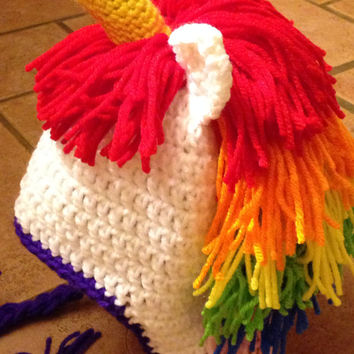 Unicorn Hat/Crochet Unicorn Hat/Crochet Photography Prop/Rainbow Unicorn Photo Prop/Crochet Pony Hat-Pattern by Sarah Zimmerman