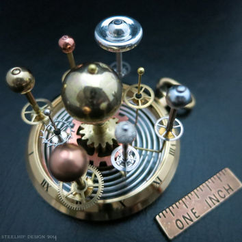 Orrery, Miniature Vintage Solar System, Planet Globe, Pocket Watch Case, Steampunk Art, Sculpture, Steam Punk, Astronomy Prop, Science Gears