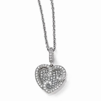Sterling Silver & CZ Polished Heart Pendant Necklace