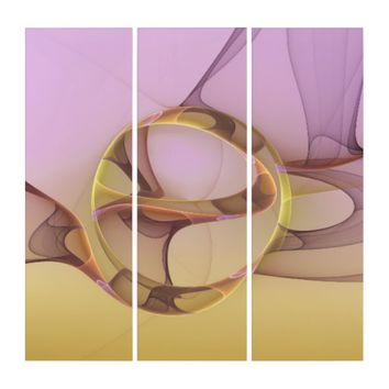 Abstract Motions, Modern Light Pink Yellow Fractal Triptych