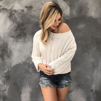 All Knit Up Sweater Top in Cream