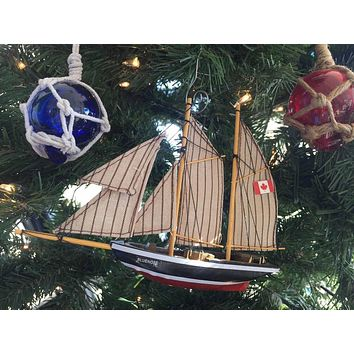 Wooden Bluenose Model Sailboat Decoration Christmas Ornament 7""