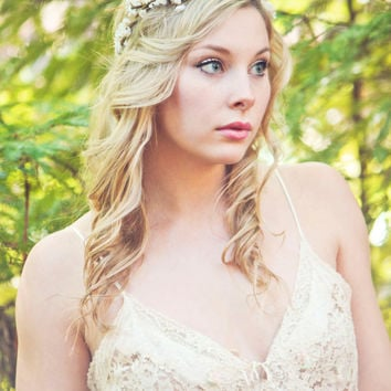 Flower crown, rustic head wreath, wedding headband, bridal hair, wedding crown
