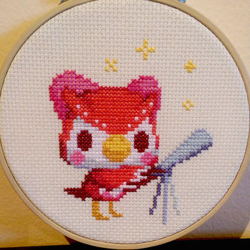 Animal Crossing - framed Celeste cross stitch