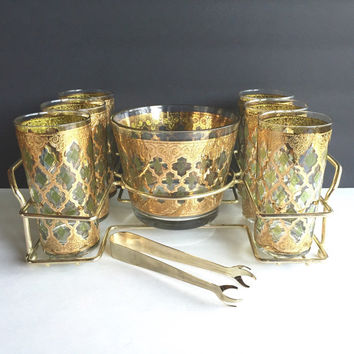 Culver Valencia 9 Piece Tumbler Set with Ice Bucket and Tongs, Vintage Culver Valencia Bar Set