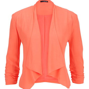 Coral Drape Front Blazer With Cinched Sleeves - Living Coral