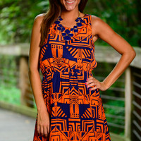On The Plains Dress, Navy/Orange