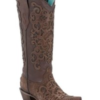 Corral® Ladies Brown Lizard w/ Leather Lace Overlay Snip Toe Exotic Western Boots