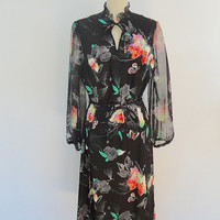 Vintage 1970s Dress / Butterfly Floral Polka Dot Print / 70s Little Black Dress / Chiffon Sleeves / Size L Large