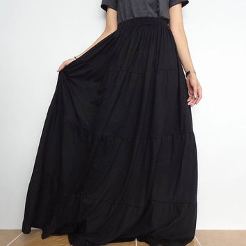 Women Ruffle Long Skirt , Casual Gypsy, Bohemian , Cotton Blend In Black (Skirt *B1).