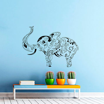 Wall Decal Vinyl Sticker Decals Art Home Decor Design Murals Indian Elephant Floral Patterns Mandala Tribal Love Ganesh Bedroom Dorm AN461