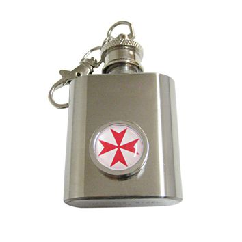 Bordered Red Maltese Cross 1 Oz. Stainless Steel Key Chain Flask