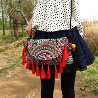 Free Shipping ! Embroidery bag embroidered  tassel bag  one shoulder cross-body  women's handbag