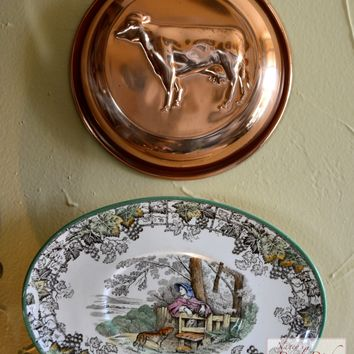 Vintage Country French Copper Cow Tart Mold with Brass Riveted Hook