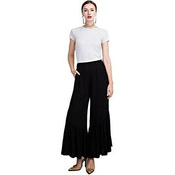 Easel Women's Wide Leg Solid Colored Elasticized Waist Palazzo Pants with Ruffled Bottom