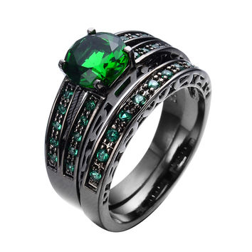 Gorgeous Green Emerald Jewelry Women/Men Ring Set Wedding Band Black Gold Filled Vintage Engagement Rings Anel Aneis RB0322