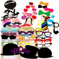 Photo Booth Props 60PCS Hat Mustache Party Masks Lips On A Stick Wedding Party Decoration Birthday Christmas Favors Photo Booth