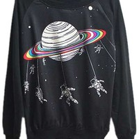 ROMWE | Saturn Printed Black Pullover, The Latest Street Fashion