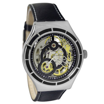 Swatch YAS108 Unisex Introspective Silver Skeleton Dial Black Leather Strap Automatic Watch