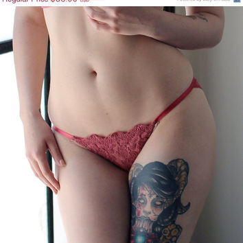 SALE lace knicker panties in cotton embroidered mesh - BOUQUET hand dyed lingerie - made to order