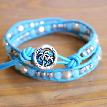 Blue Beaded leather wrap bracelet, silver, pearl, Bohemian wedding, boho chic, gift idea, palm tree, trendy jewelry, hipster, palm three