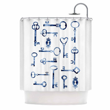"Nic Squirrell ""Indigo Keys"" Blue Illustration Shower Curtain"