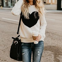 Fashion Women Heart Print Sweaters Casual Pullovers Round Neck Long Sleeve Sweater Women Clothes Pull Fall Jumper WS5420S