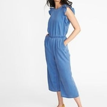 Faded Tencel® Flutter-Sleeve Jumpsuit for Women | Old Navy