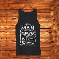 New Style T-shirt Printing Letter AVADA KEDAVRA BITCH Casual Black Color T-shirts Women Sleeveless Tank Tops Graphic Tee Shirts
