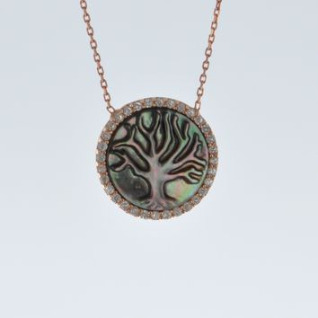 Abalone Shell Tree Of Life Pendant Necklace
