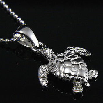 STERLING SILVER 925 3D HAWAIIAN BABY SEA TURTLE PENDANT