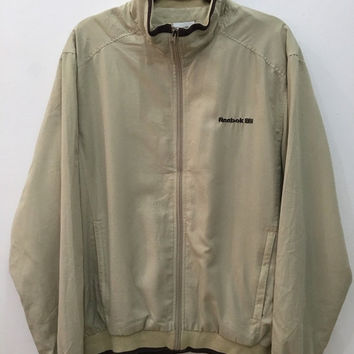 April Sale Vintage 90's Reebok Beige Jacket Windbreaker Sport Trainer Sweater with Zipper #J43