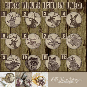 Handmade Wildlife Birch Knobs Drawer Pulls, Woodland Animal Cabinet Pull Handles, Deer, Elk, Moose, Raccoon, Fox, Squirrel Wild Animal Knobs