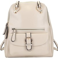 Heshe New Women Leather Backpack Purse Shoulder Messenger Sling Hand Bag (Beige)