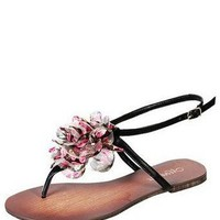 FLORAL LEATHER THONG @ KiwiLook fashion
