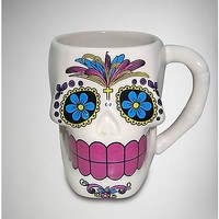 White Candy Sugar Skull Jumbo Coffee Mug - Spencer's