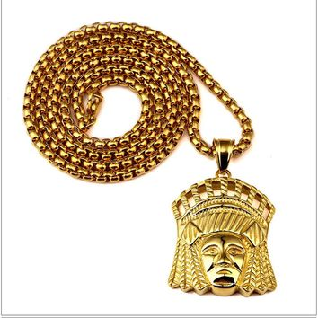 Trendy New Style Indian Chief Pendant Necklace 27'' Long Chain Hip Hop Style Men's Necklace Jewelry Gift
