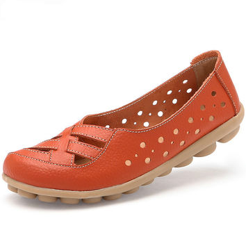 Women Classic Summer Flats Shoes,Genuine Leather Clogs Sandals Slip On Soft Soles Boats Shoes 35-41 Sapatos Femininos