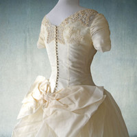 1950s Wedding Gown with Ruched Sleeves Ivory Organza and Lace Ballgown Button Back