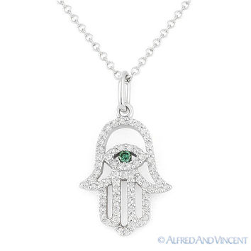 0.17 ct Diamond Hamsa Evil Eye Hand of Fatima Judaica Charm Pendant 14k Wht Gold