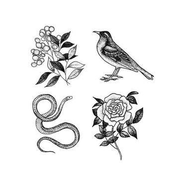 Flora and Fauna Set of Temporary Tattly Tattoos